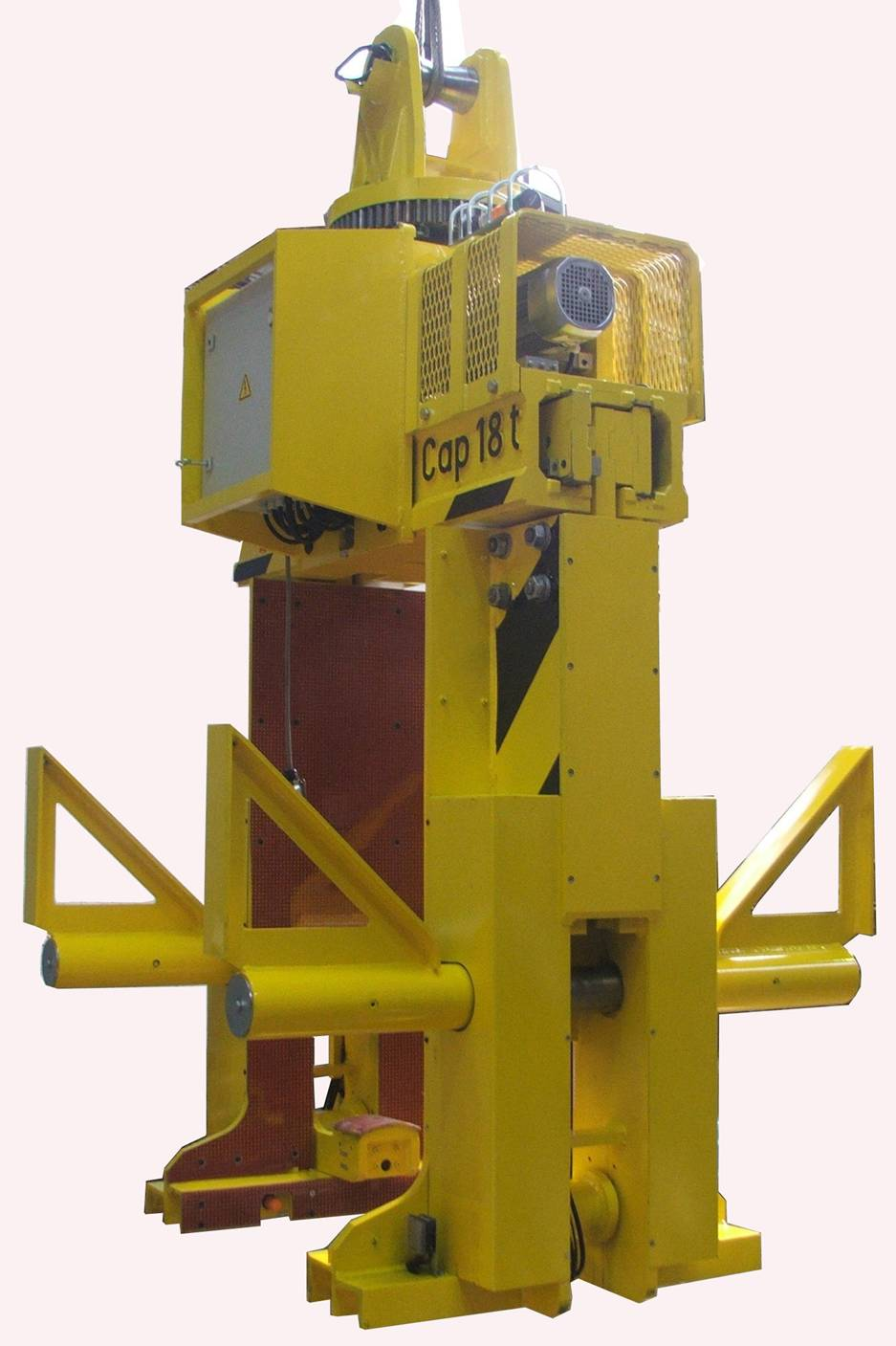 Tong for handling Coils in horizontal position or vertical Coils on palettes with Safety Device to prevent sliding of Vertical Coils from the palette