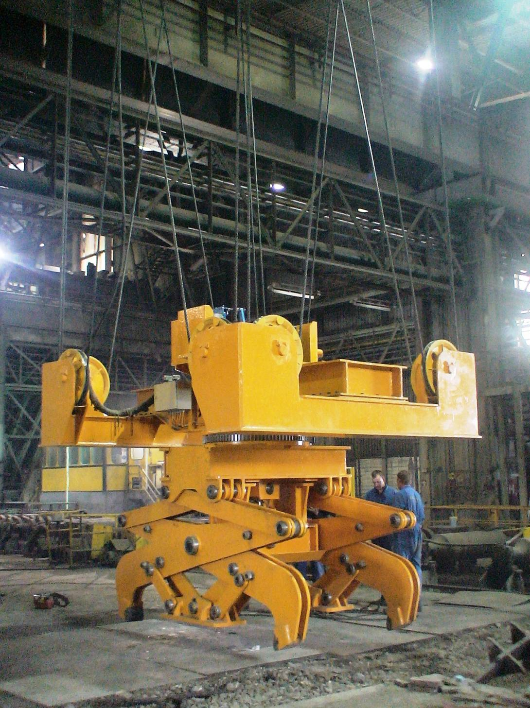 Hoist operated Slab Tong with 4-point Suspension and Rotating Unit